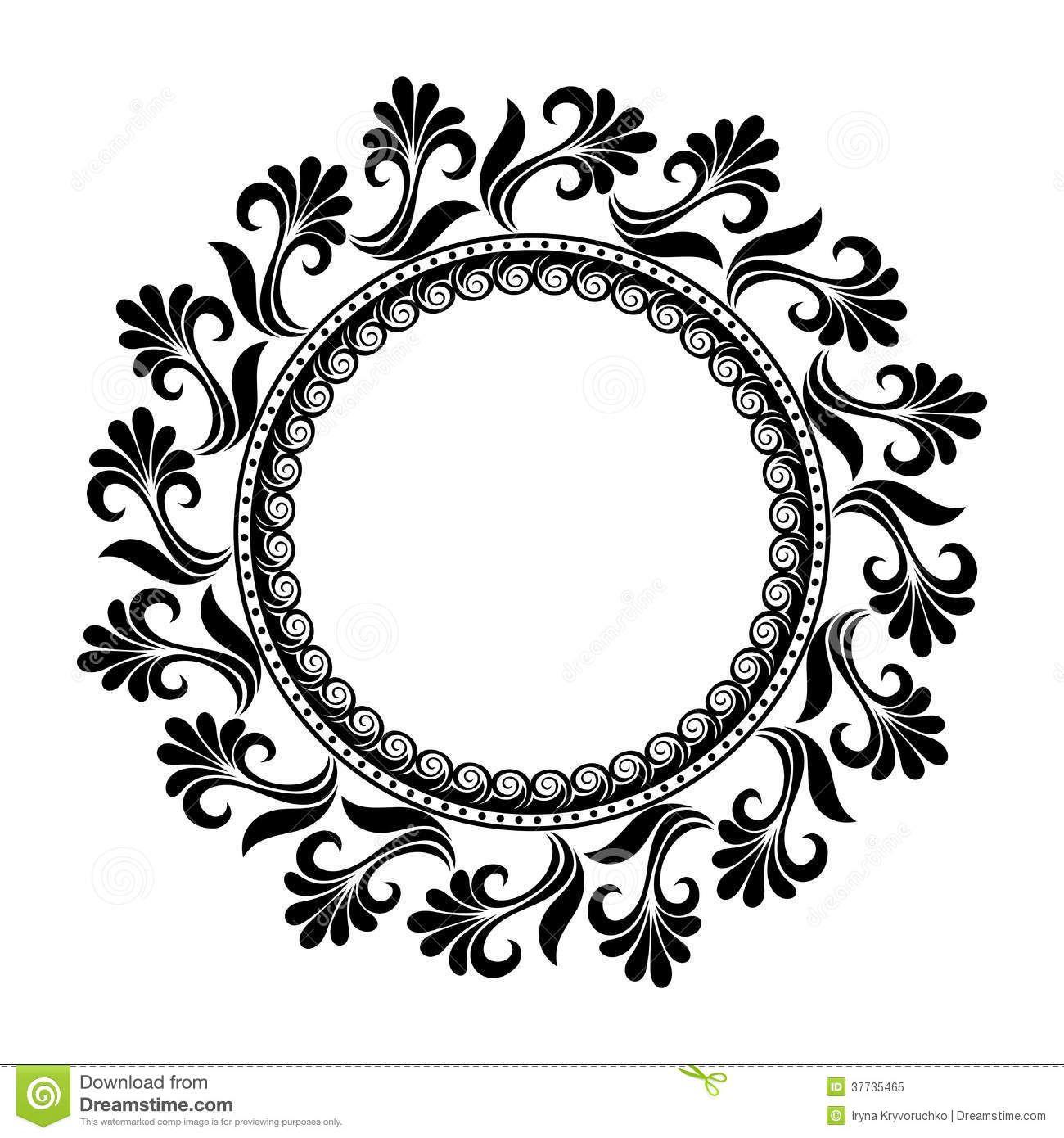 Black Flower Decorative Frame Vectors Material 04 Free: Vector Floral Circle - Поиск в Google