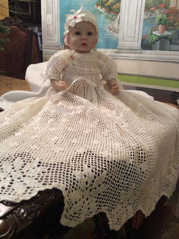 Filet crochet floral edge christening gown, hat and headband pattern ...