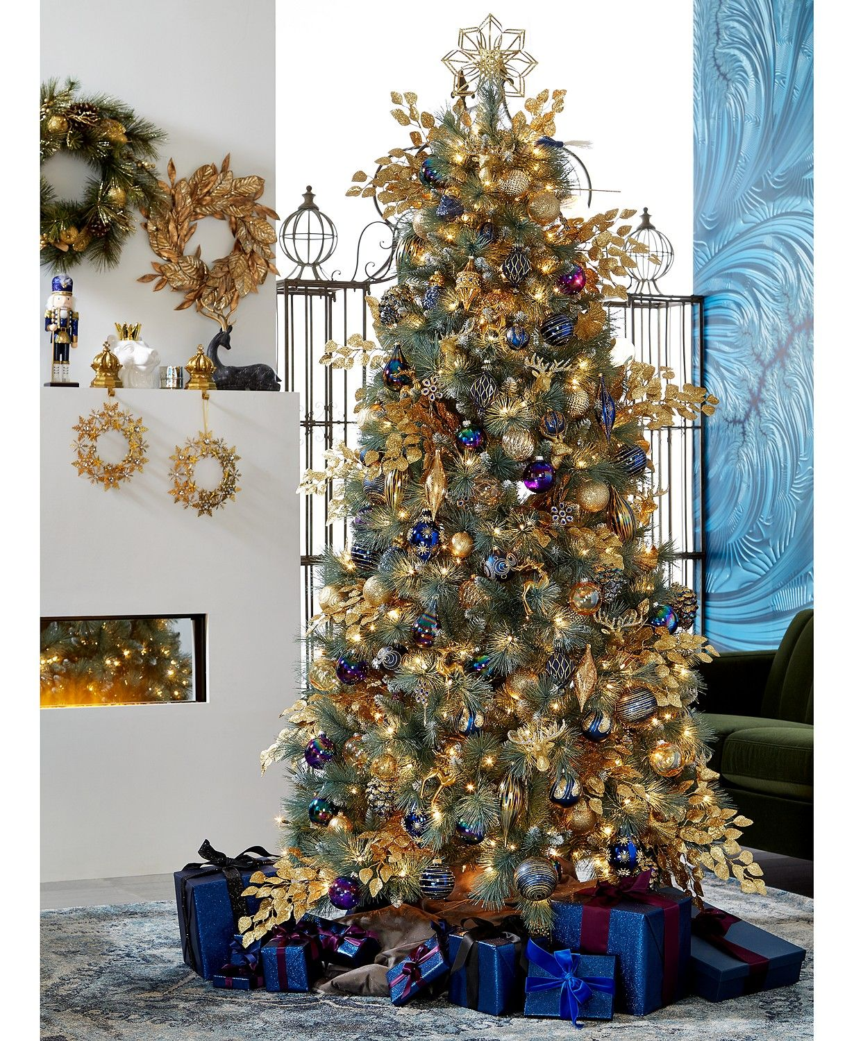 Holiday Lane Midnight Blue Collection Created For Macy S Reviews Christmas Ornaments Home Macy S In 2020 Blue Christmas Decor Blue Christmas Tree Gold Christmas Decorations