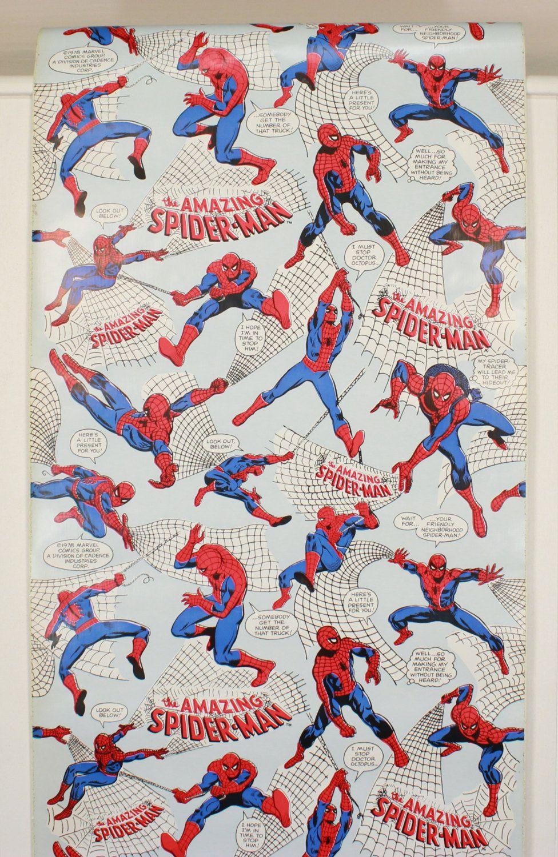 1970s Vintage Adhesive Paper Spider Man Marvel Comics Adhesive Wallpaper Peel N Stick By The Yard Spiderman Poses Spiderman Spiderman Drawing