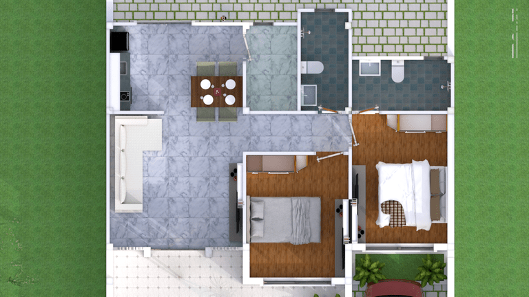 Simple Home Design Plan 10x8m With 2 Bedrooms Rumah