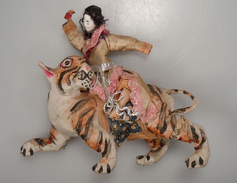 Vintage Chinese Papier Mache - Man Riding Tiger Figurine   Papier ...