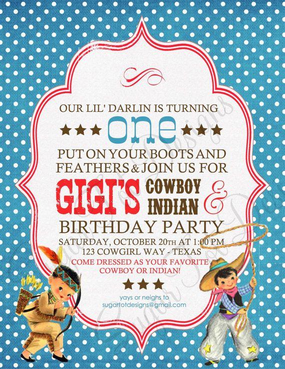 Vintage Cowboys And Indians Invitation Cowboy By Sugartotdesigns 12 00 Indian Birthday Parties Cowboys And Indians Party Invitations