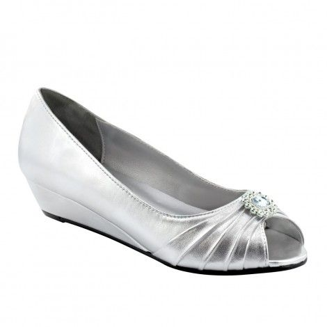Silver Leather Wedge Pumps for Women