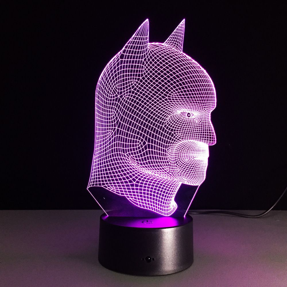 7 Color Changing 3d Illusion Led Table Lamp Led Night Light With Double Face Shape With Batman Shape Table Light Lamp Iy803378 Batman Lamp Lamp Led Night Light
