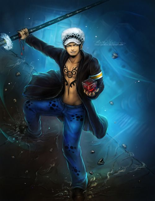 trafalgar d water law one piece art blue one piece hd colection