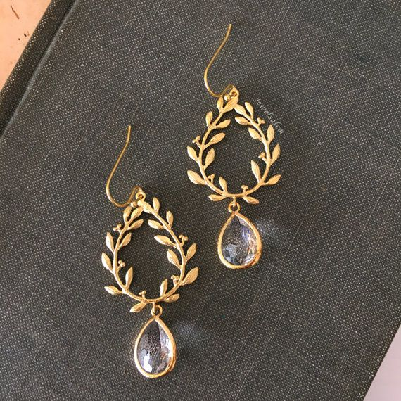 55ab45c6dac3f Gold Bridal Earrings Wedding Jewelry, Modern Nature Inspired Designs ...
