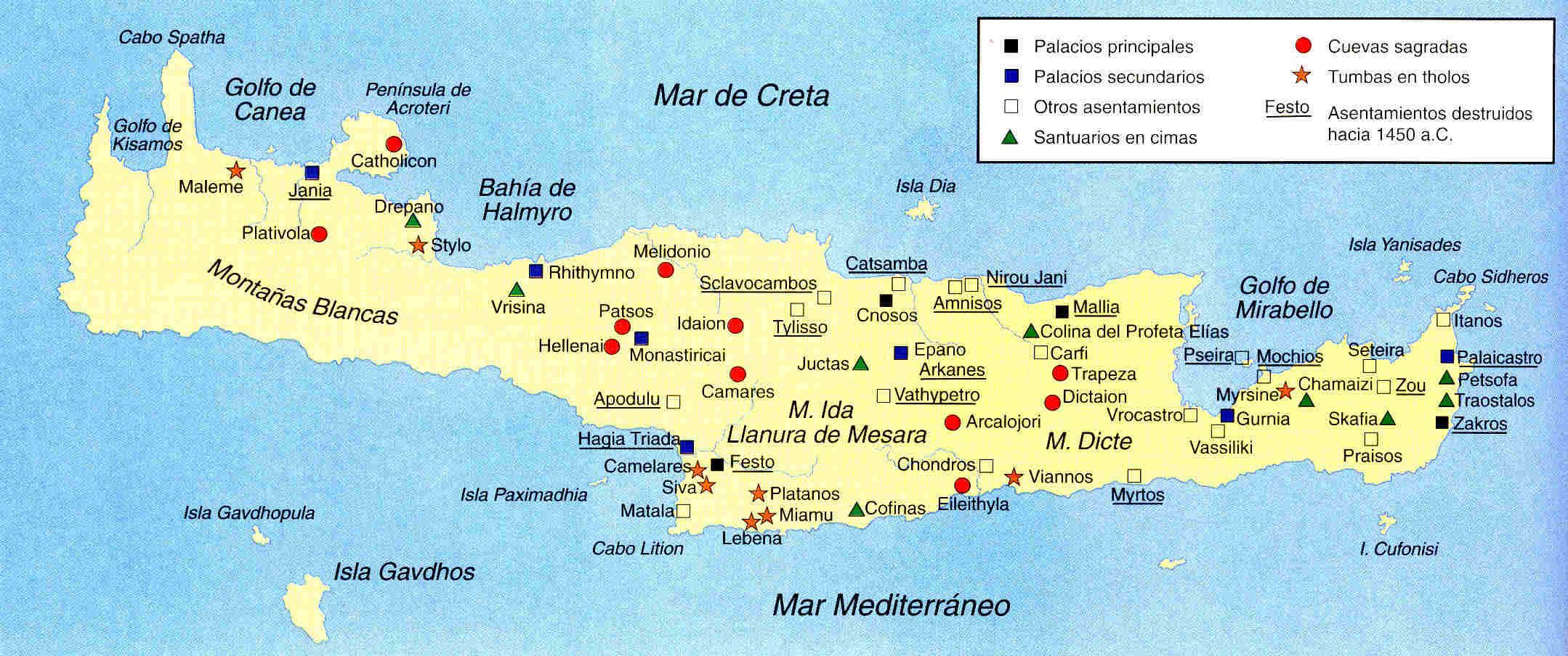 Mapa De La Creta Minoica Griechische Mythologie Mythologie Griechisch