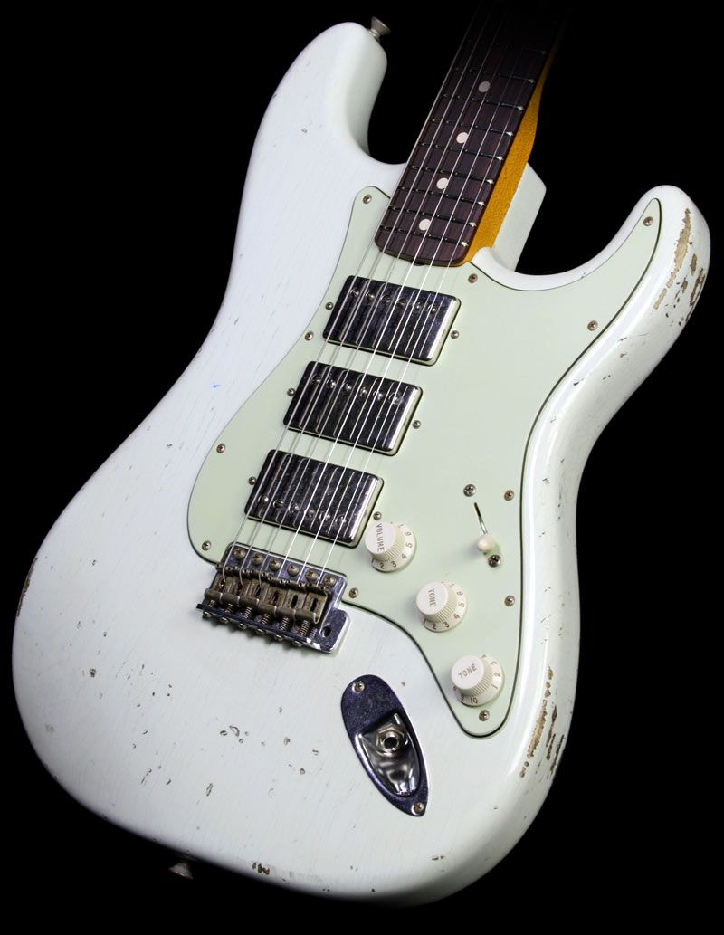 fender custom shop 1960 stratocaster three humbucker noneck relic electric guitar olympic white. Black Bedroom Furniture Sets. Home Design Ideas
