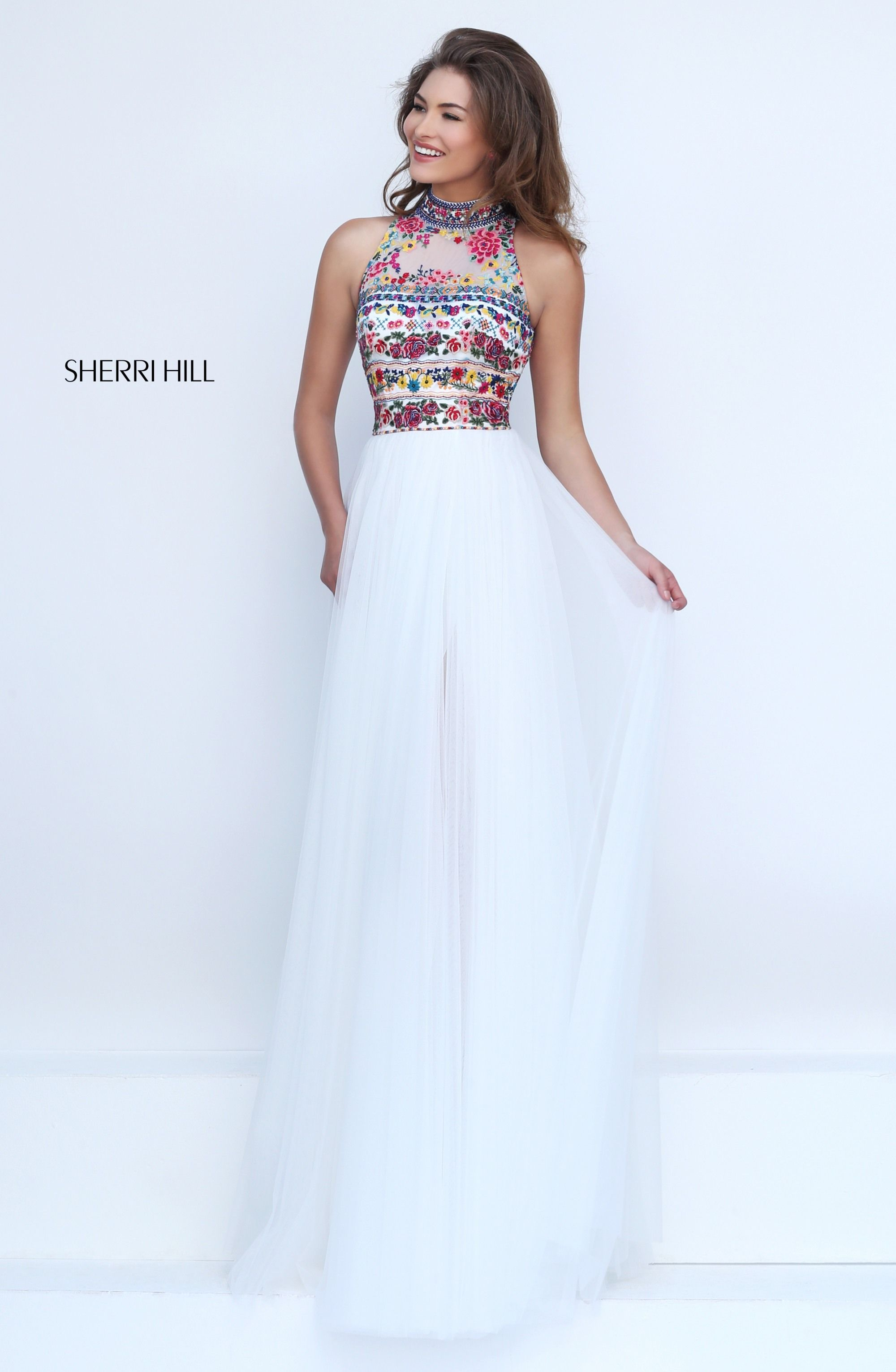 c1f483ea25 Spring 2017 Sherri Hill Utah Prom Dress Utah Dress Store Embroidery Halter  White Tulle Flowy Colorful