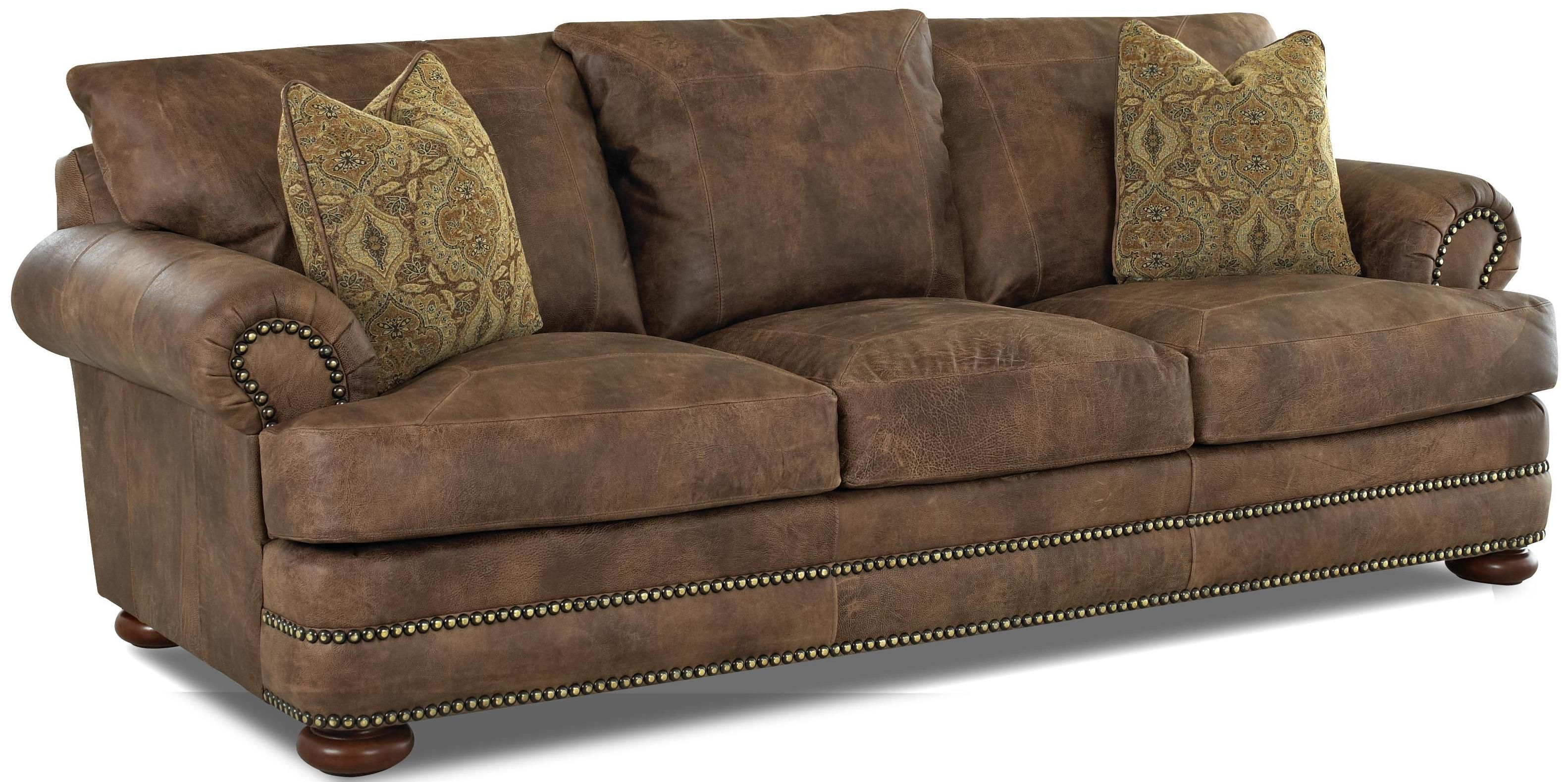 Montezuma Casual Style Leather Sofa With Bun Feet By Klaussner