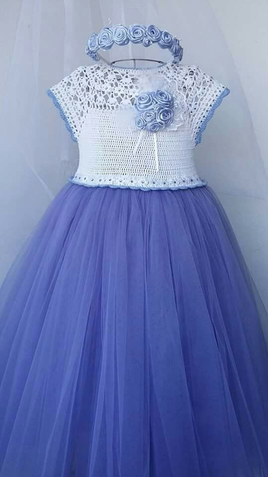 Vestido lila de niña con detalles TEJIDOS | crochet | Pinterest ...