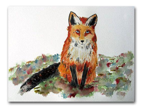 Red Fox painting 9x12 watercolor nature wildlife earthy original fine art rustic home decor via Etsy