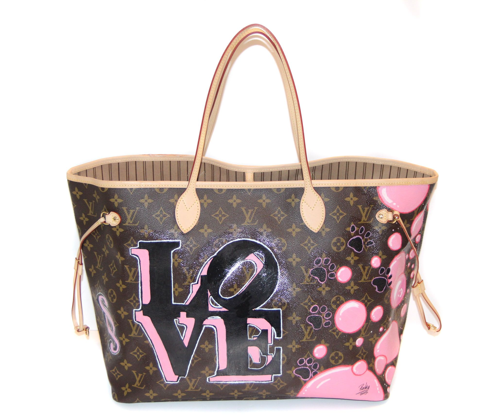 HAND PAINTED LOUIS VUITTON NEVERFULL BAG BY ROCKY MAZZILLI FOR YEAR ZERO  LONDON 9b95a39d8899