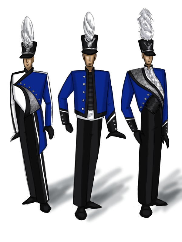 Uniform Ideas Based On The Santa Clara Vanguard And Their Cadet Corps The Middle Design Was A Revisi Marching Band Uniforms Band Uniforms Color Guard Uniforms