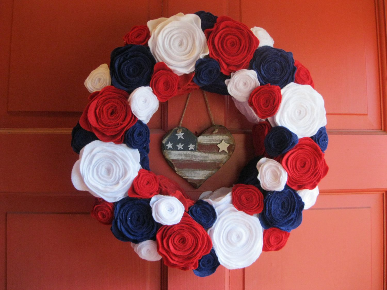 Felt Flower Wreaths 14 Patriotic Felt Flower Wreath Red White