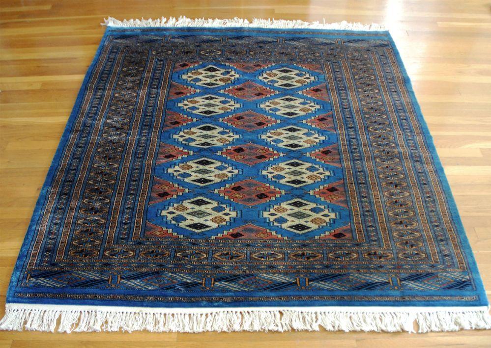 Traditional Pakistani Blue 4 X6 Living Area Rug Carpet