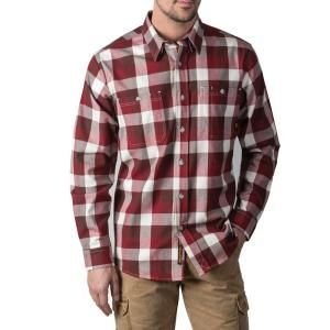 Walls Outdoor Goods Men S Longhorn Midweight Brushed Flannel Stretch Work Shirt Yl860drt M The Home Depot Work Shirts Armpit Gusset Midweight