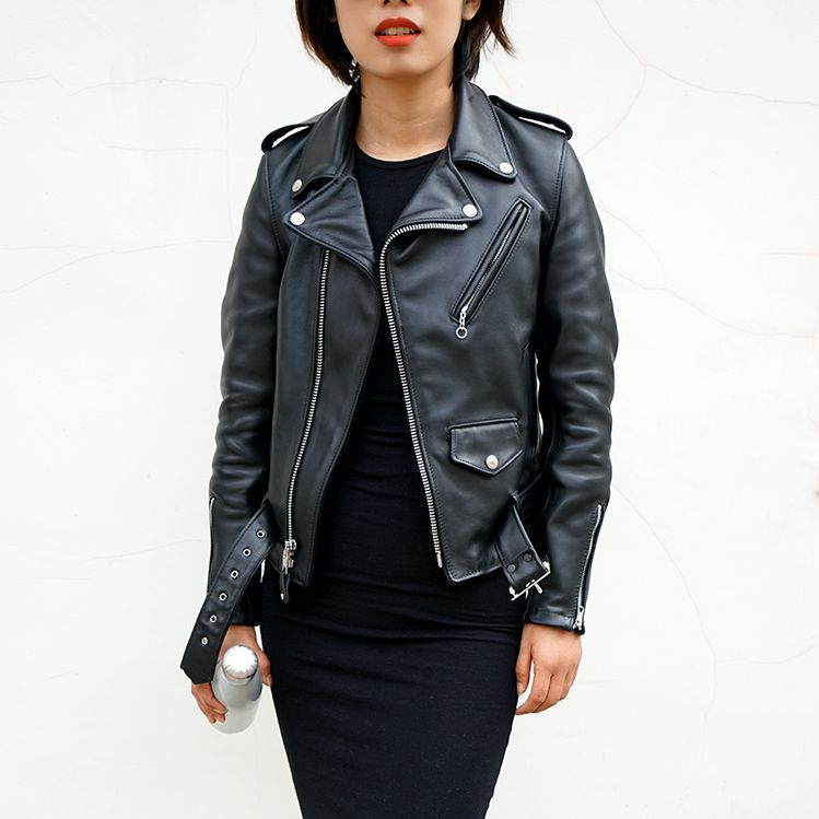 美國代購 Schott NYC 肖特女士經典裸牛皮衣斜拉機車皮夾克 136W  f6a0a33b8e980