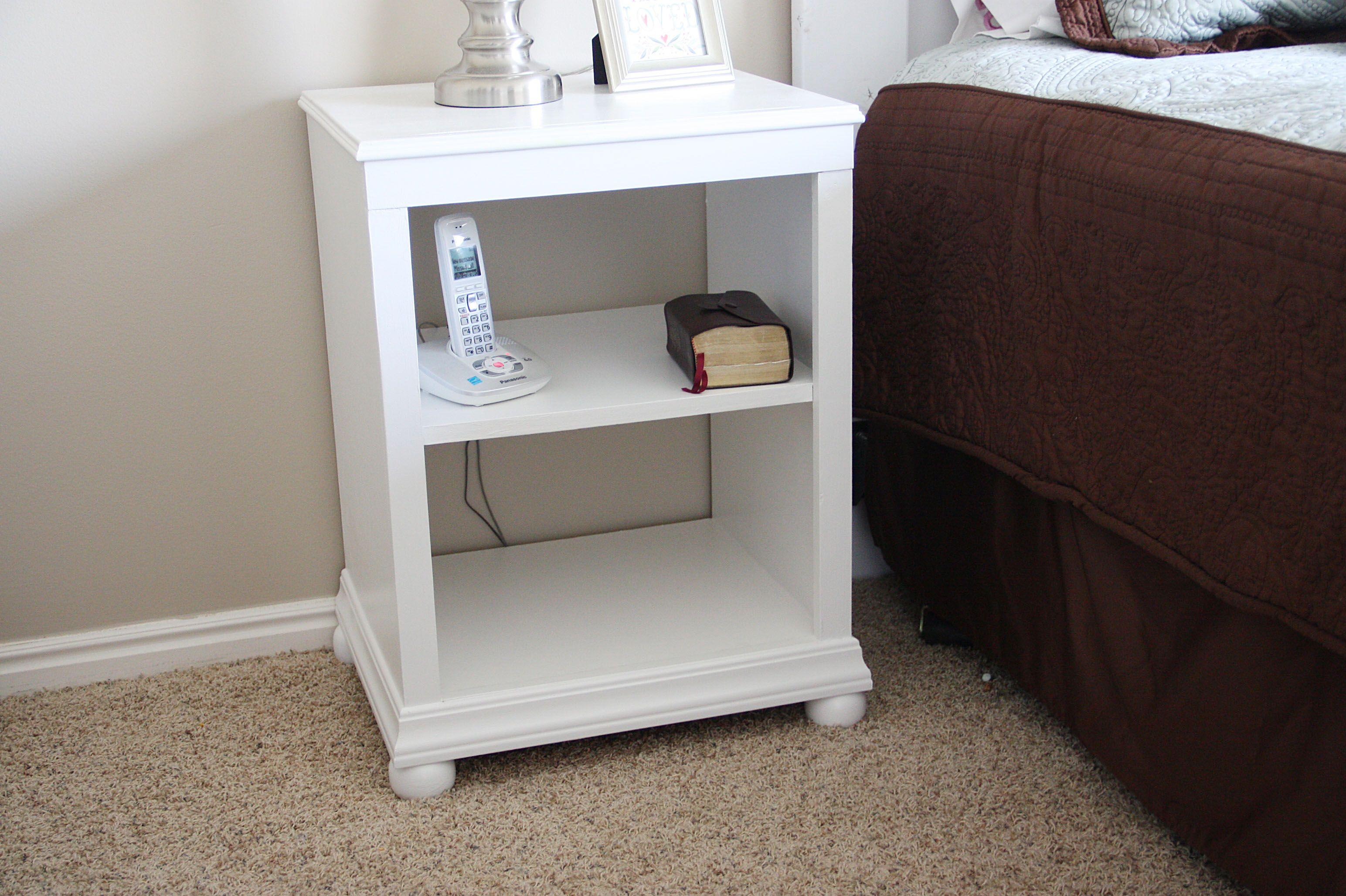 Katie Nightstand Open Shelf Diy Nightstand Diy Furniture Headboard With Shelves