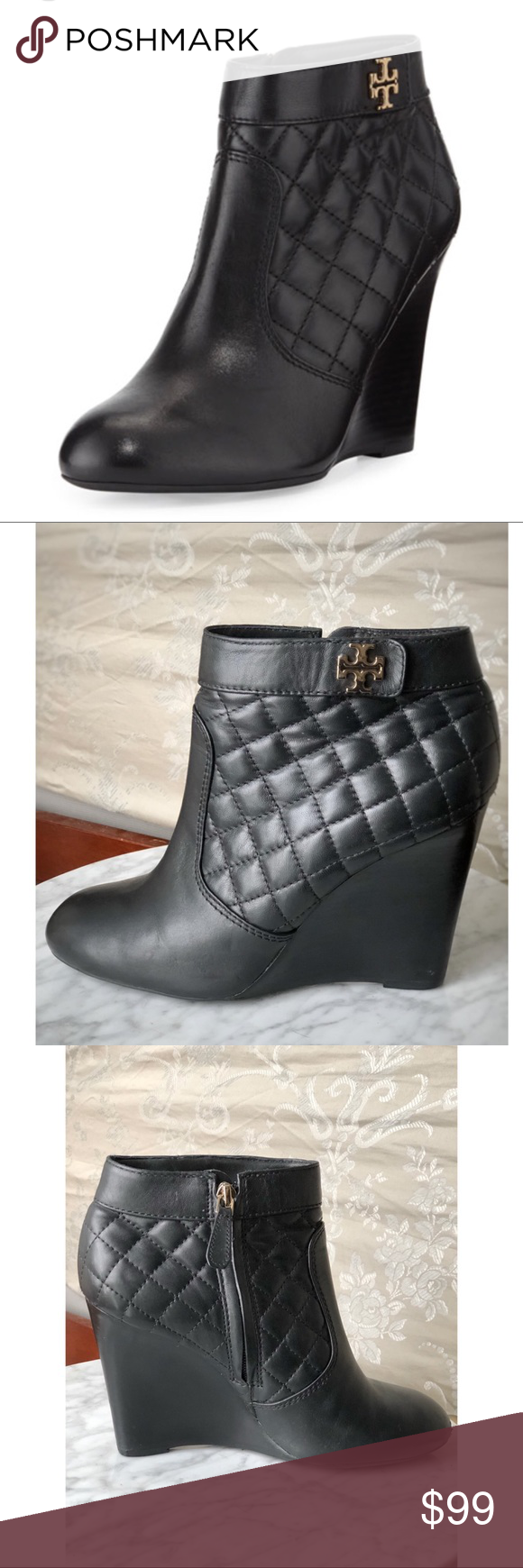 "de91e470e16 Tory Burch Leila Quilted Black Ankle Boot Size 8.5 Tory Burch- Leila Boots  Size  EU 38.5 US 8.5 Color  Black Material  Leather Heel  4"" Made In   Brazil ..."