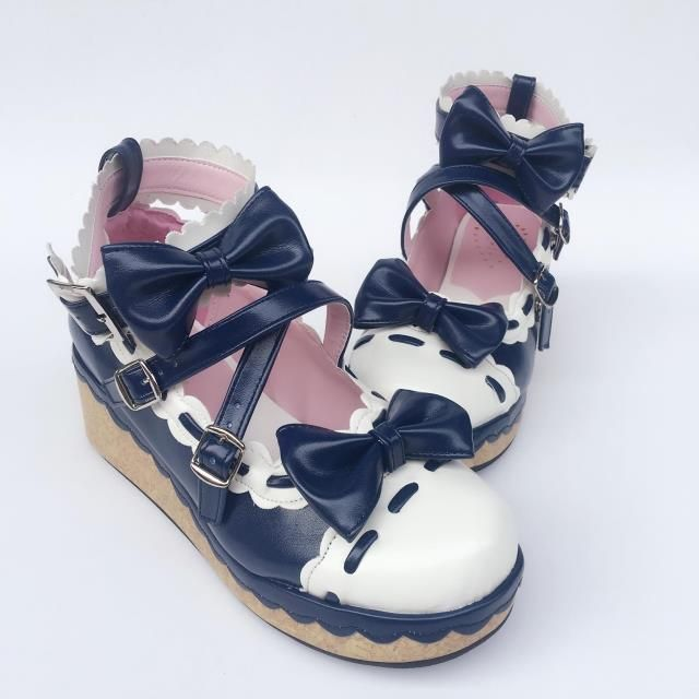 2d1823bc009 Sweet Straps Bows High Platform Lolita Shoes in 2019 | Lolita ...