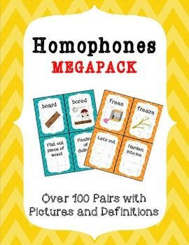 Homophones MEGAPACK is the ultimate homophone set!!  There is a total of 100 pairs of homophones (200 individual words) with matching pictures and definitions.There are so many uses for this set  here are a few ideas: Bulletin boardWord wallMatching  match the meaning to the homophoneDefining  define the homophoneSentences  use the homophone in a sentenceMemory/Concentration game  matching homophone to definitionYou will use this resource over and over!!