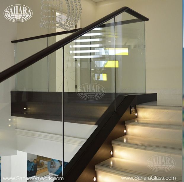 Smooth Finised Handrail With Crystal Clear Glass Mahogany Wood Clear Glass Handrail