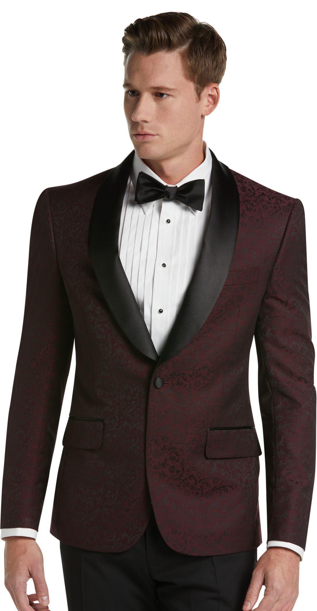 Jos. A. Bank Slim Fit Tonal Floral Pattern Dinner Jacket