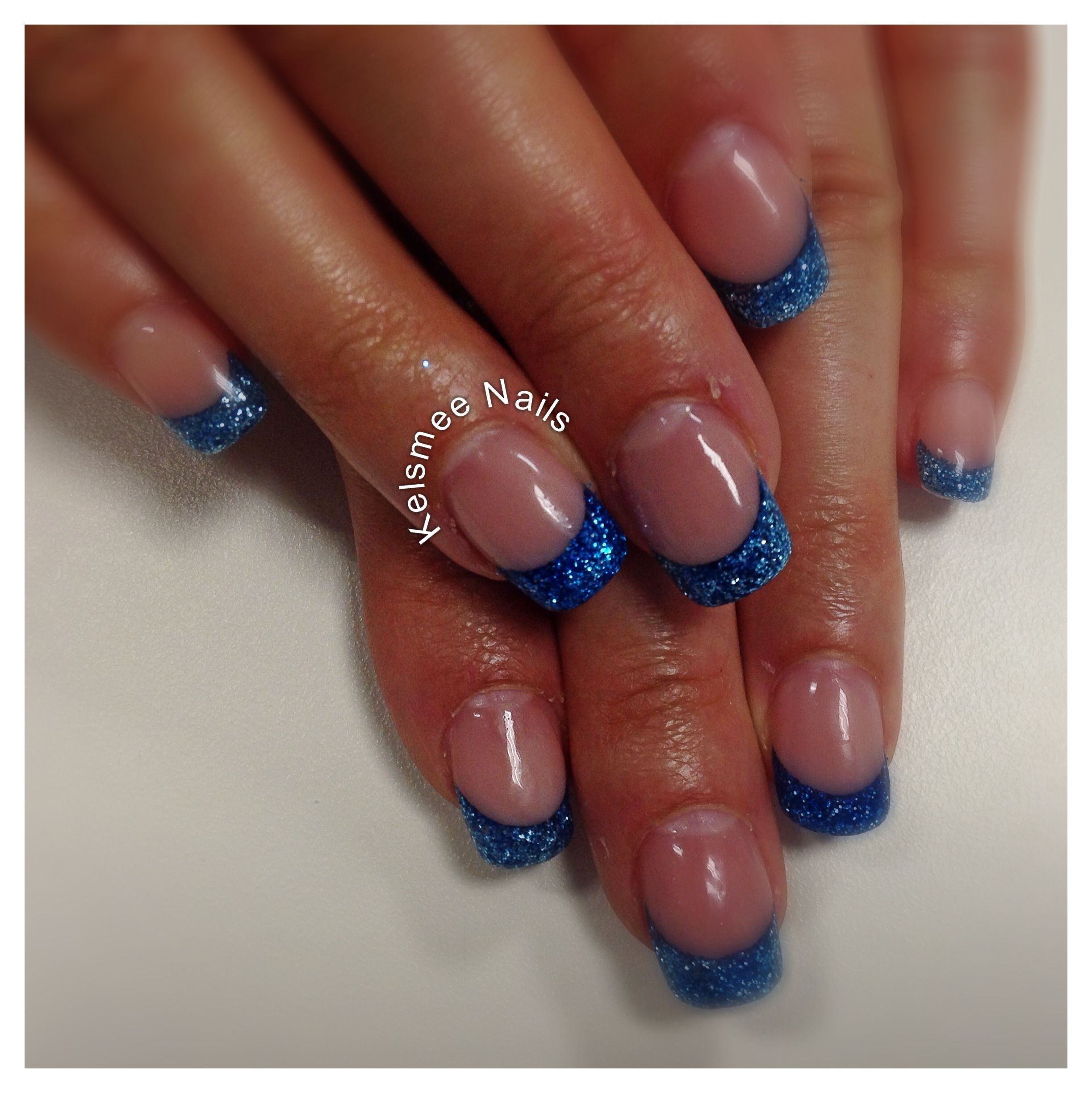 Young Bails acryl cover pink blue glitter French | Nails | Pinterest ...