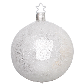 Christbaumkugeln Weiß Eislack.Christbaumkugel Glitter ø8cm Silber Weiß Eislack Inge Glas