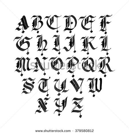 Hand drawn gothic ink pen font. Capital letters. Black ink isolated on white.