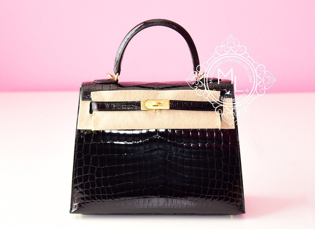 5e0f885baa Hermes Noir Black GHW Niloticus Crocodile Sellier Kelly 25 Handbag - New