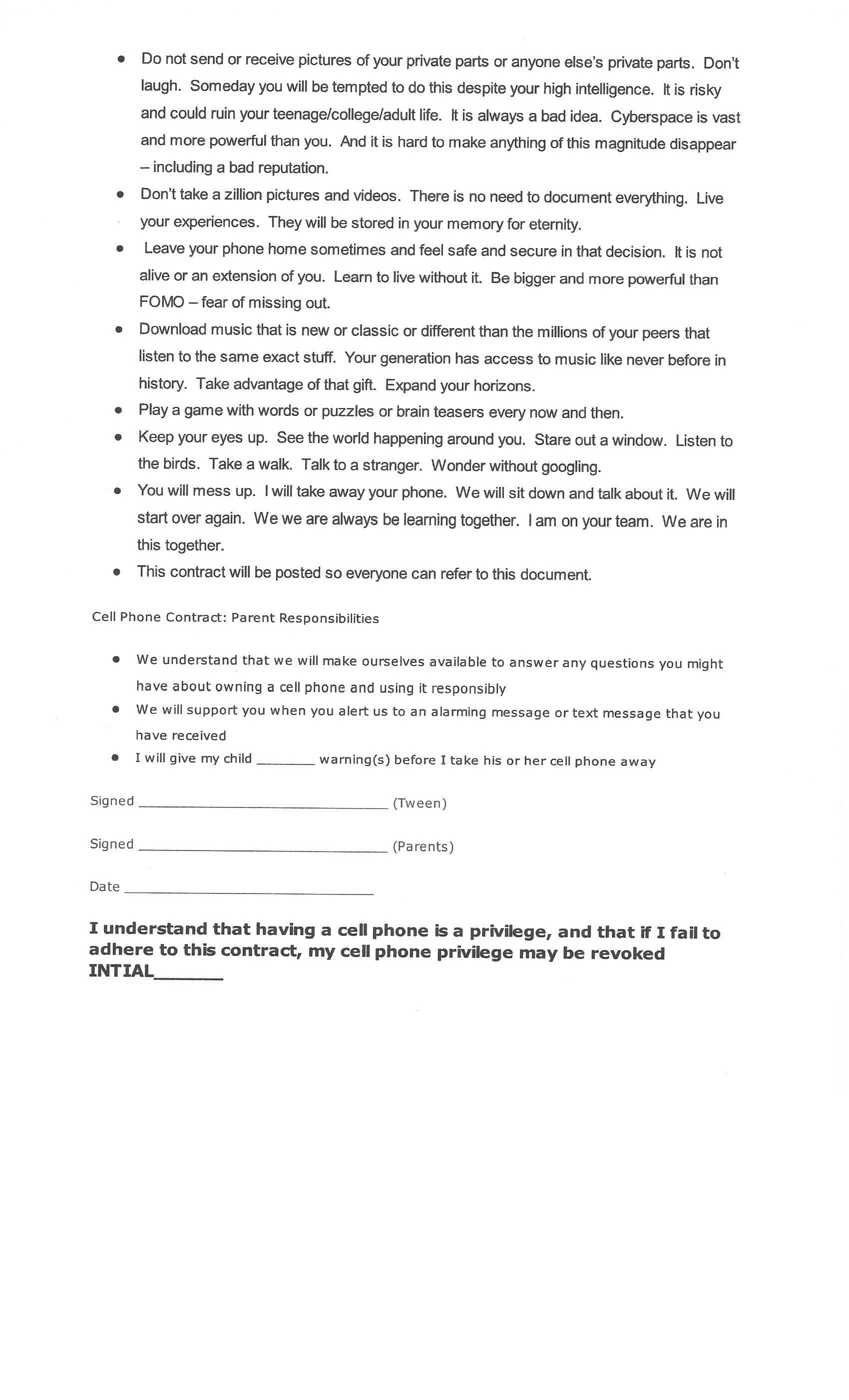 this is page of the cell phone contract for kids what is a  explore manners for kids cell phone contract and more