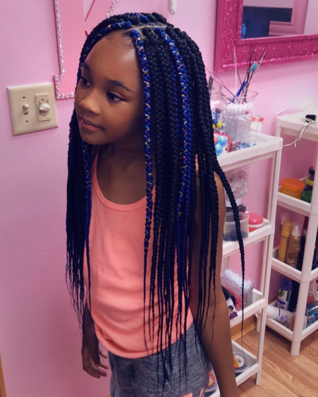24 super knotless box braids color burgundy in 2020 kids