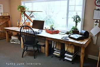 Pallet Farm Table Desk ~ Part 3, the reveal   Funky Junk InteriorsFunky Junk Interiors