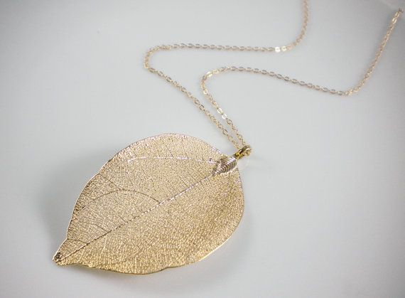 Real leaf necklace gold leaf necklace silver leaf by AraMarie