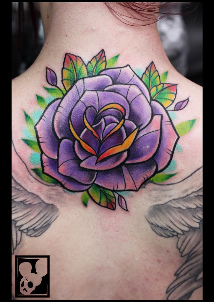 Amazing-Purple-Rose-Tattoo-On-Upper-Back-By-Jairo-Carmona ...
