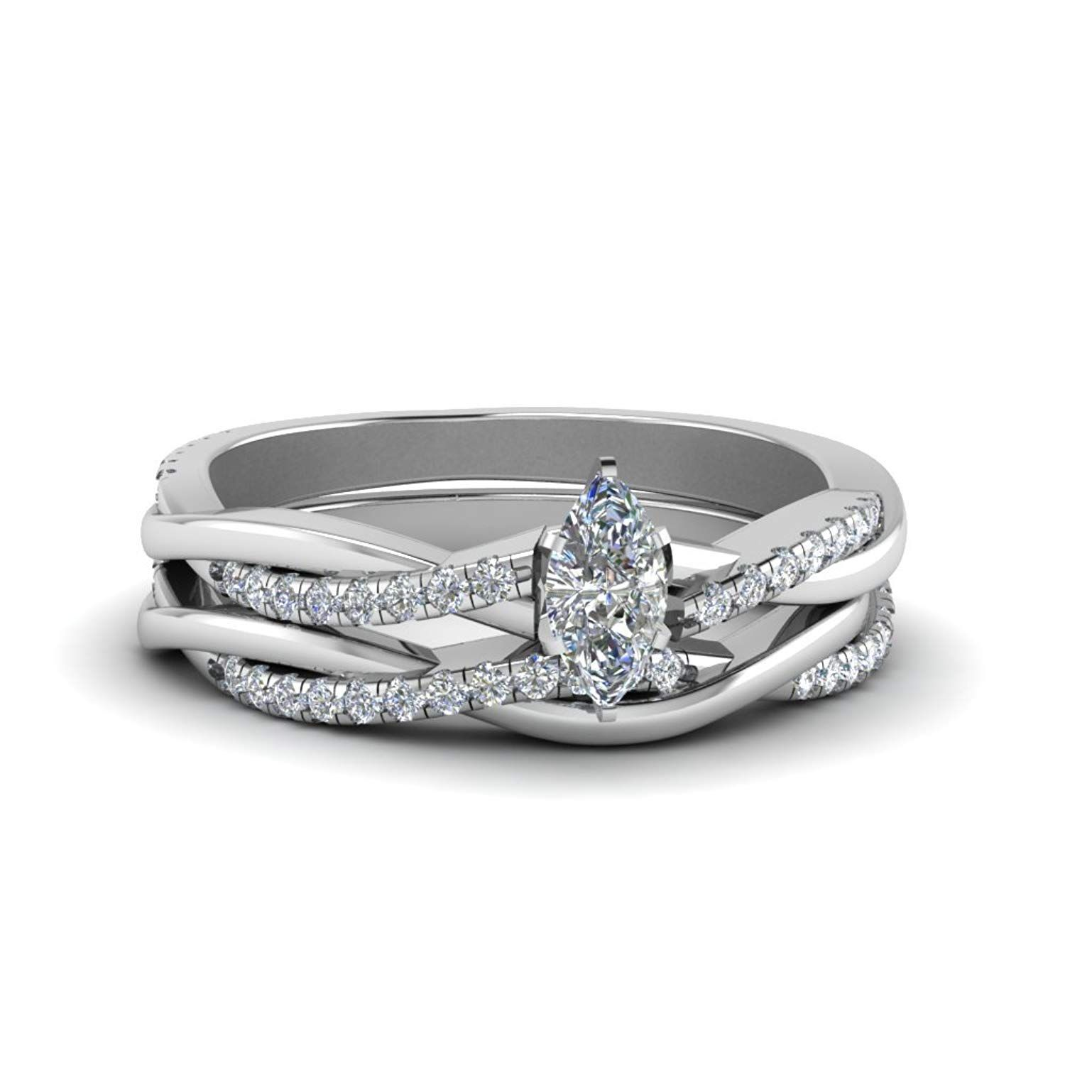 70f63411ef luxrygold 14K White Gold Pl 1 CTW Marquise White CZ Diamond Infinity Twist  Matching Wedding Ring Set -- We appreciate you for seeing our picture.