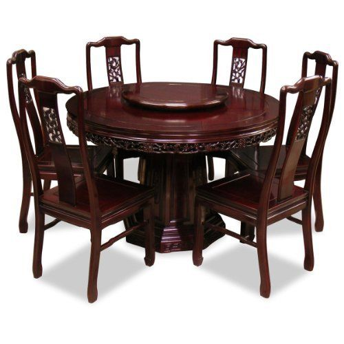 Flower And Birds Design Rosewood Round Dining Table With 6 Chairs