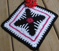 """Cat's Claw Afghan 12"""" or 10"""" block ~ free pattern"""