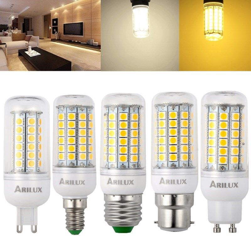 Arilux E27 E14 B22 Gu10 G9 3w 4w 5w Smd5050 Led Corn Light Bulb For Home Decoration Ac220v Bulb Led Light Bulbs G9 Led Bulb