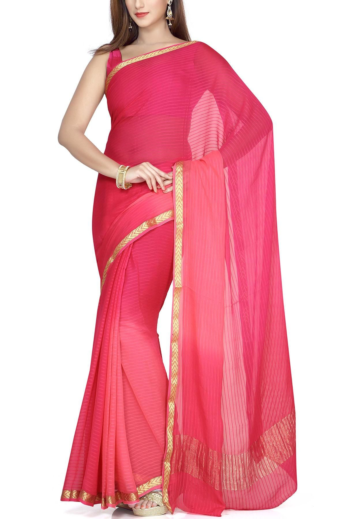 3d4f30d4ae Desire Pink Shaded Pure Chiffon Zari Buti Border Saree | AD- Eastern ...