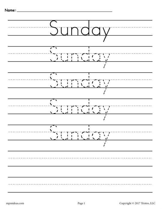 7 Free Days Of The Week Handwriting Worksheets Stuff To Learn