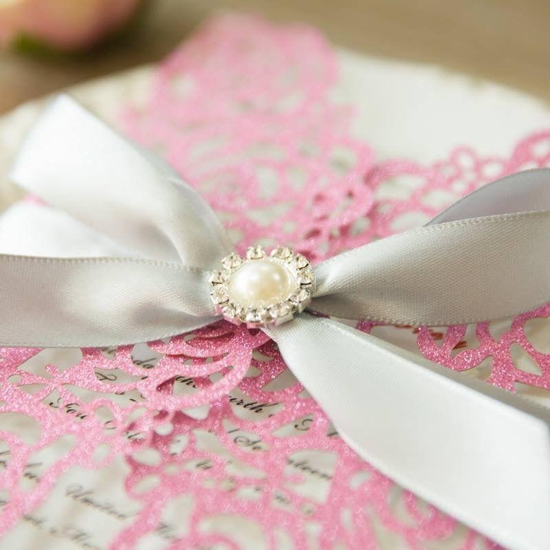 Faire-part Mariage laser cut en forme de fleur Roses en glitter