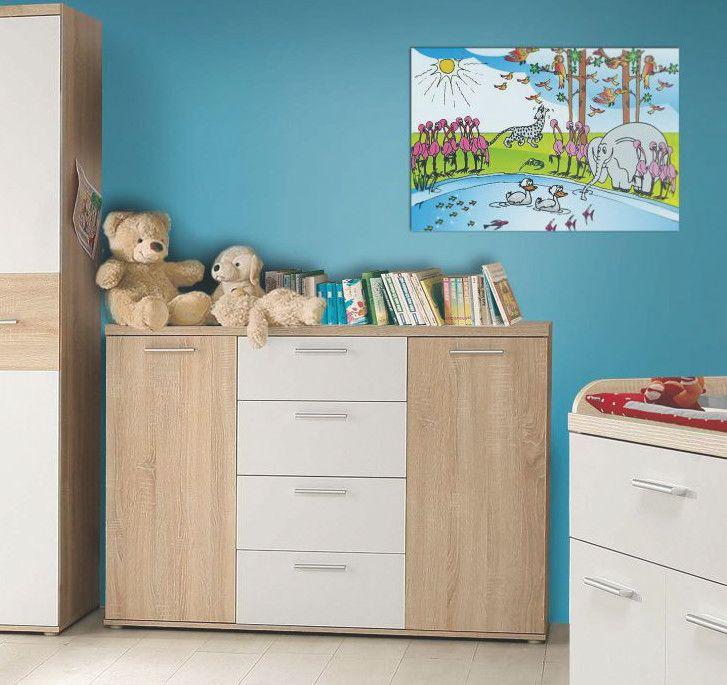 Kommode Sonoma Eiche/ Uni Weiss Woody 77-00709 modern Jetzt - Schrank Für Wohnzimmer