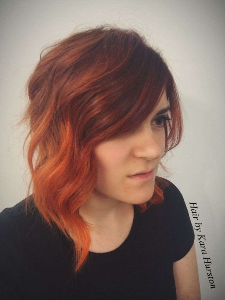 Hair by me red ombre with curls and short bob haircuts and