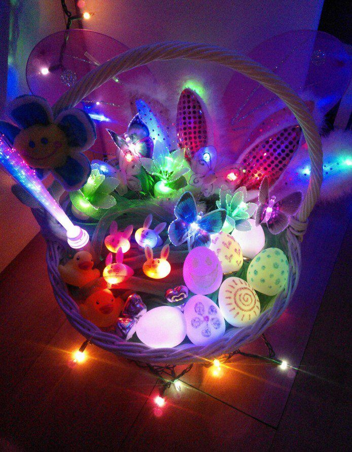 Flashing Blinky Easter Basket All The Goodies Light Up With Leds