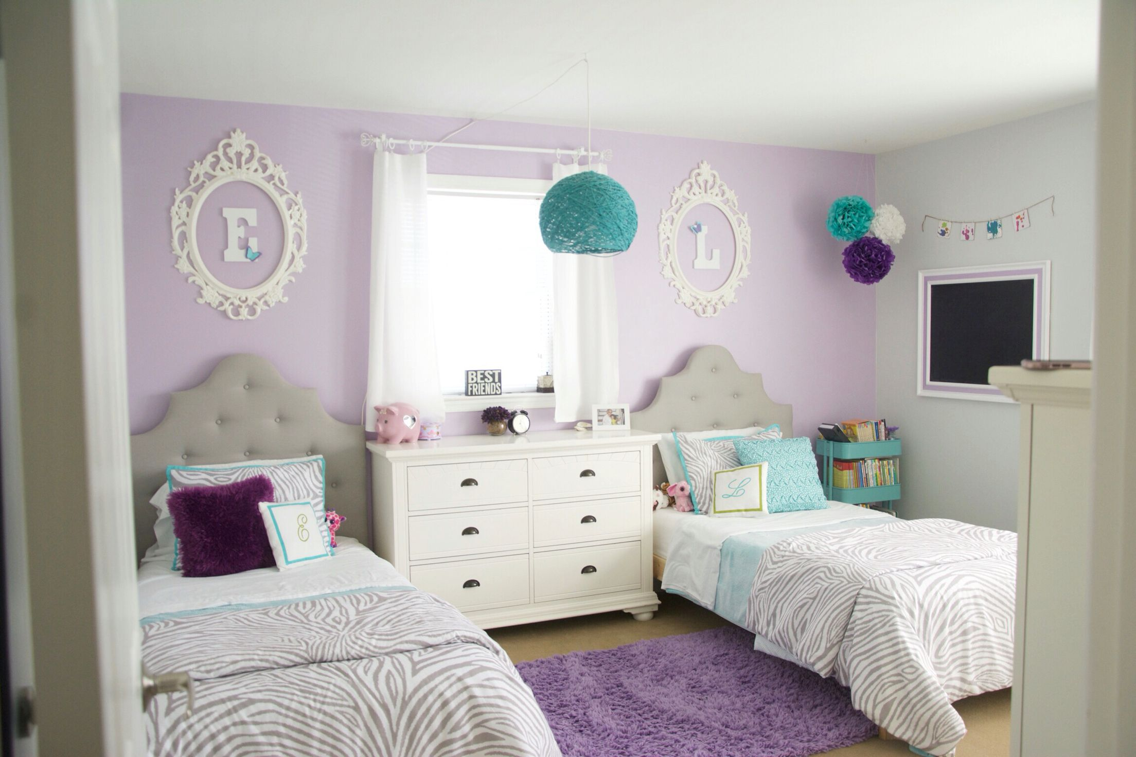 Girls shared bedroom teal and purple ung frames kids room