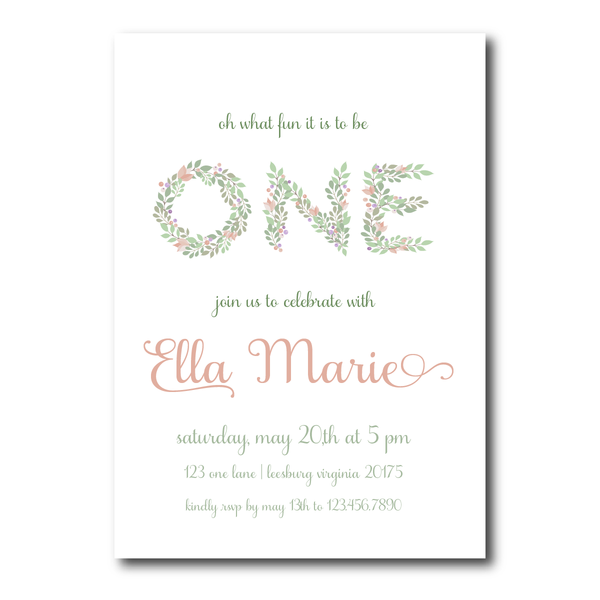 Oh ItS Fun To Be One  Floral First Birthday Party Invitation